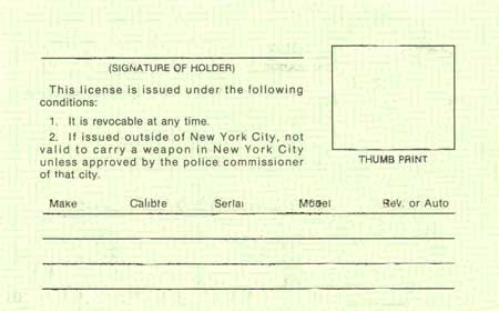 NY Pistol License Back, 2000, back