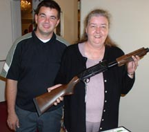 Raffle winner at Orange County Federation of Sportsmen's Clubs Dinner, 2003