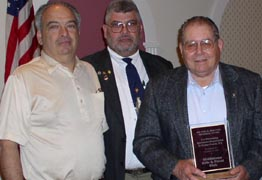 "Bill Diana and Carmine Montalbano accept the ""Club of the Year"" award at Orange County Federation of Sportsmen's Clubs Dinner, 2003"
